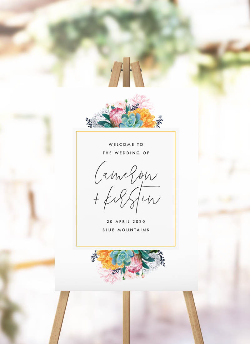Boho Native Floral Welcome Sign bohemian botanical florals protea native flowers