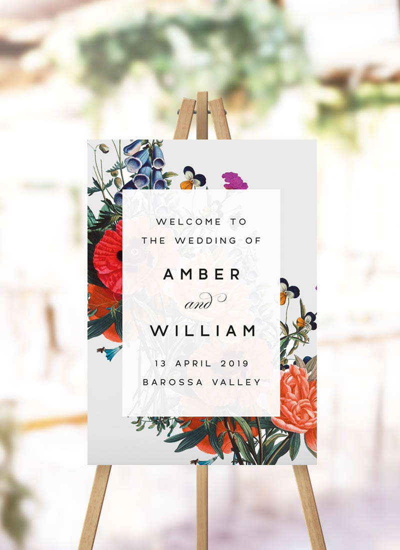 Stunning Floral Bouquet Welcome Sign red floral orange flower bouquets