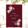 Red Burgundy Rose Floral Welcome Sign