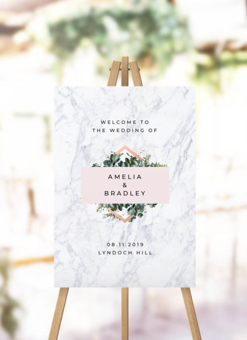 Modern Marble Botanical Welcome Sign