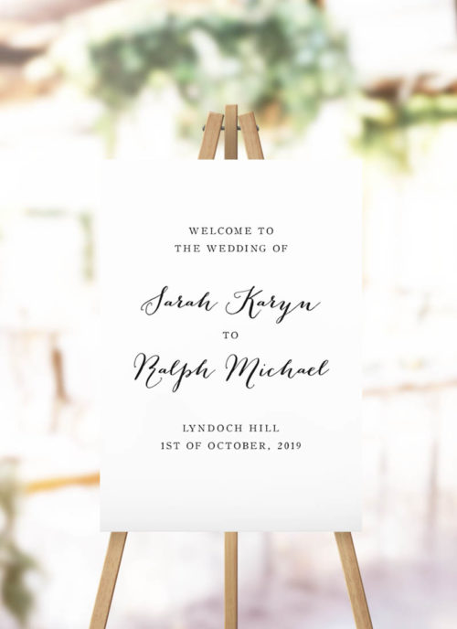 Elegant Hand Calligraphy Wedding Welcome Sign