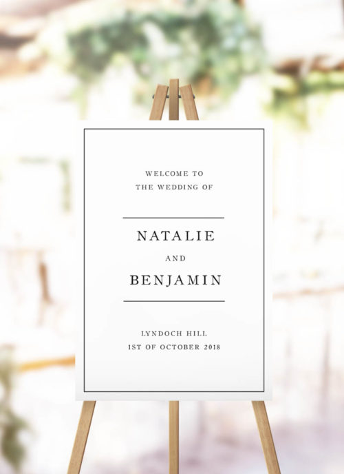 Simple Sophisticated Elegant Wedding Welcome Sign