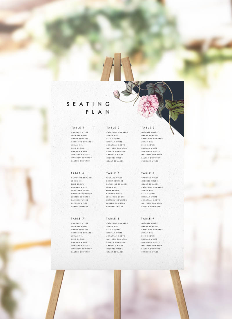 Contemporary Geometric Botanical Seating Plan Black White Floral Garden Geometric Modern Seating Chart