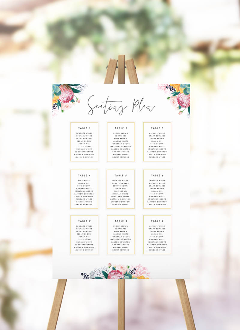Boho Native Floral Succulent Botanical Bohemian Seating Plan