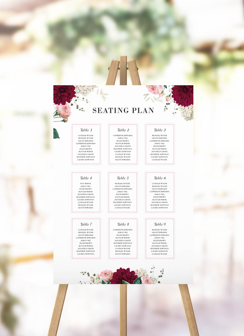 Floral Burgundy Seating Plan Burgundy Florals Pink Roses Wedding Seating Chart