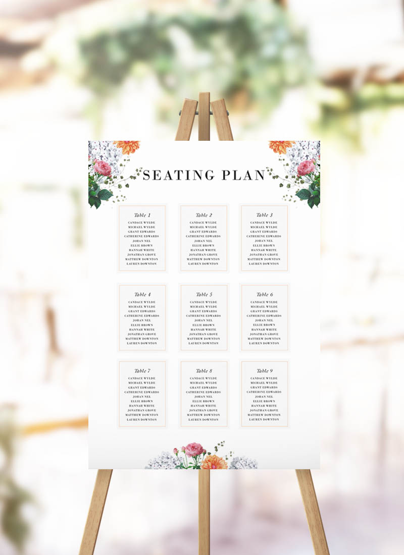 Pink Orange Botanical Seating Plan dahlia flower hydrangea peach blush pink seating chart