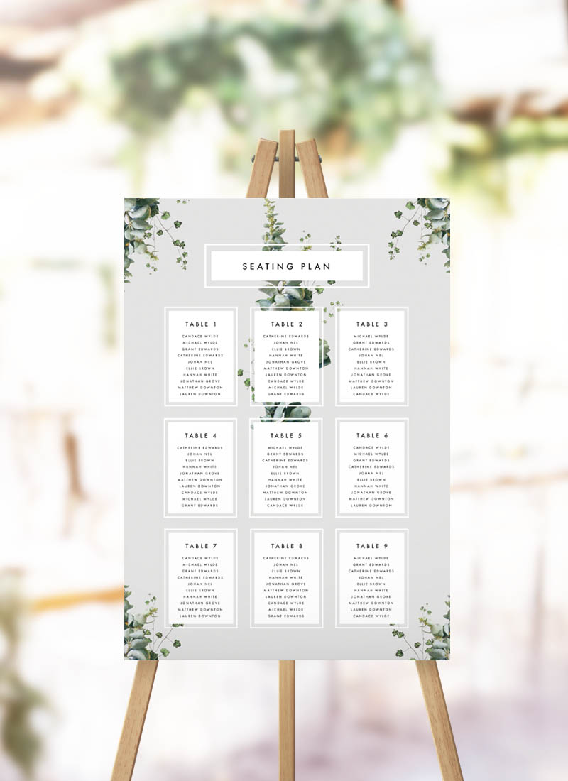 Elegant Botanical Grey White Green Seating Plan