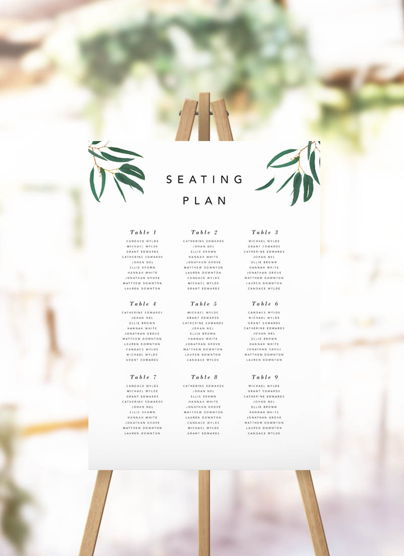 Elegant Eucalyptus Green Leaves Seating Plan - Garden Greenery Seating Chart
