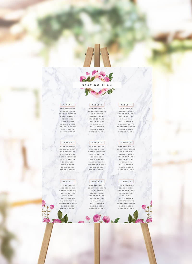 Marble Floral Seating Plan Modern Rose Flower Seating CHart