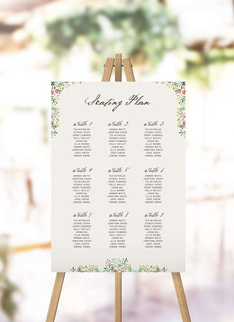 Forest Foliage Greenery Seating Plan Elegant floral wedding seating plan