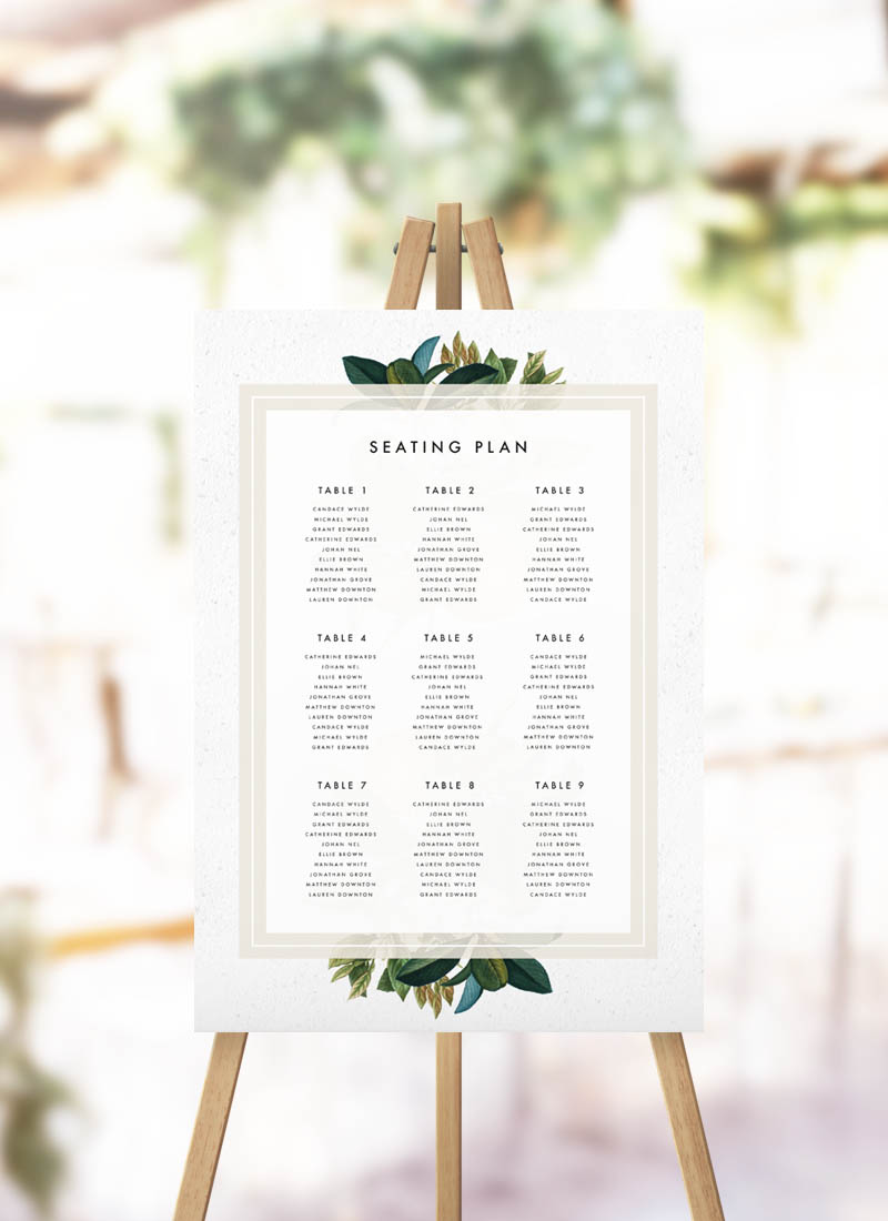 Modern Botanical Leaf Seating Plan Beautiful Green Leaf Wedding Seating Chart Garden Foliage