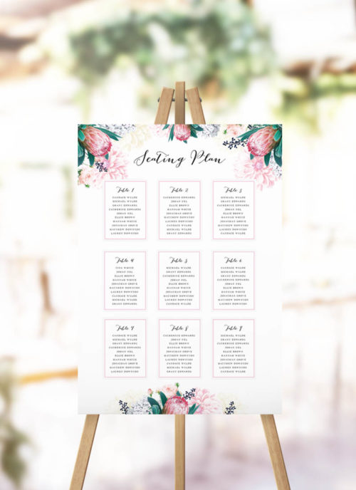 Native Floral Protea Seating Chart Native Flower Botanical Seating Plan Pink protea flowers