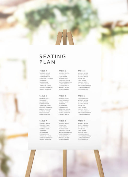 Clean Simple Modern Minimal Seating Plan