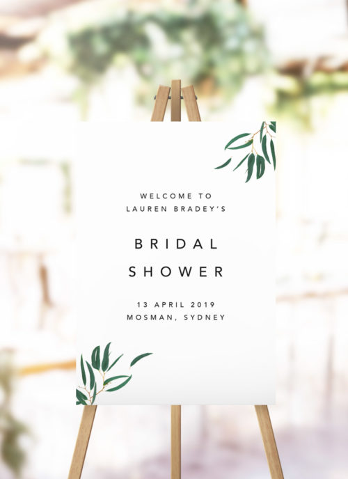 Eucalyptus Green Leaves Bridal Shower Welcome Sign foliage greenery mdoern kitchen tea welcome sign australia