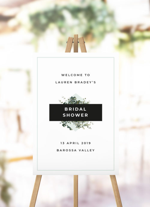 Bold Modern Botanical Bridal Shower Welcome Sign Greenery Green Leaves garden kitchen tea welcome sign australia