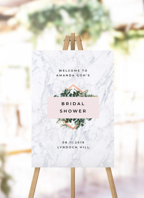 Blush Pink Marble Botanical Bridal Shower Welcome Sign modern green leaves greenery foliage garden marble kitchen tea welcome sign australia