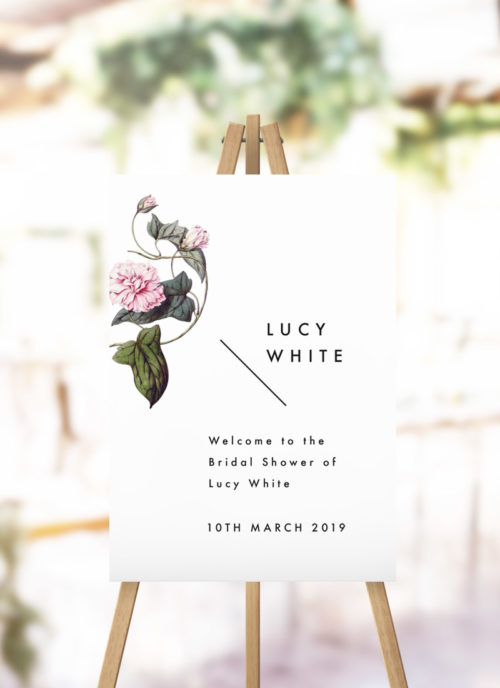 Lush Flower Botanical Vine Bridal Shower Welcome Sign modern botanical kitchen tea welcome sign australia