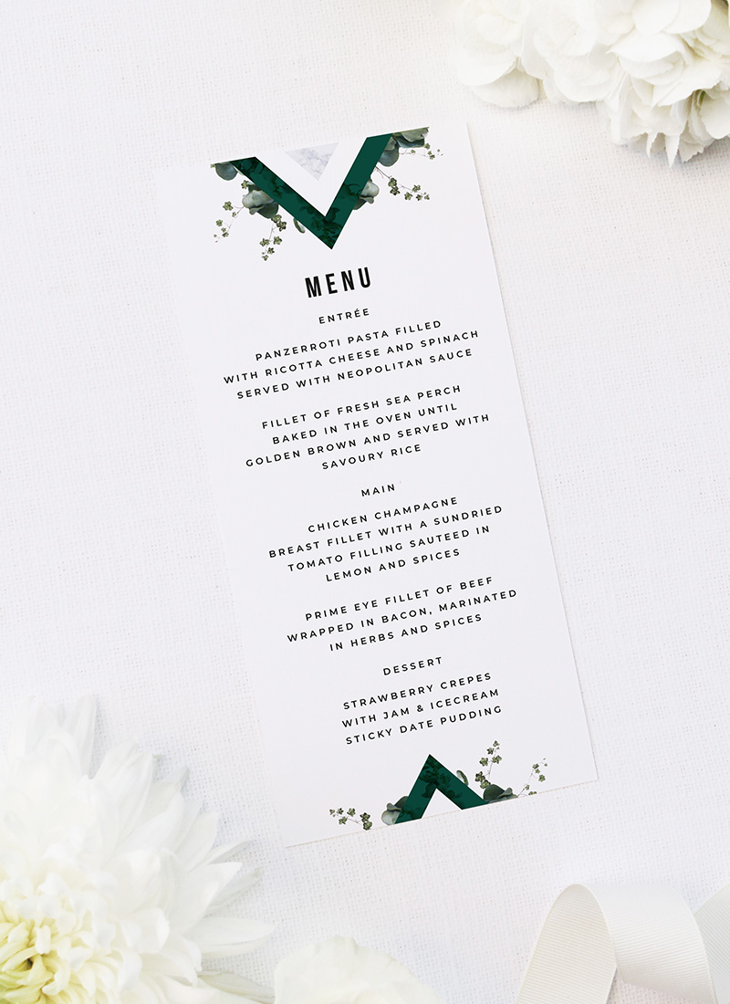 Deep Forest Green Botanical Clover Wedding Menus Deep Forest Green Botanical Clover Wedding Menus Deep Forest Green Botanical Clover Wedding Invitations