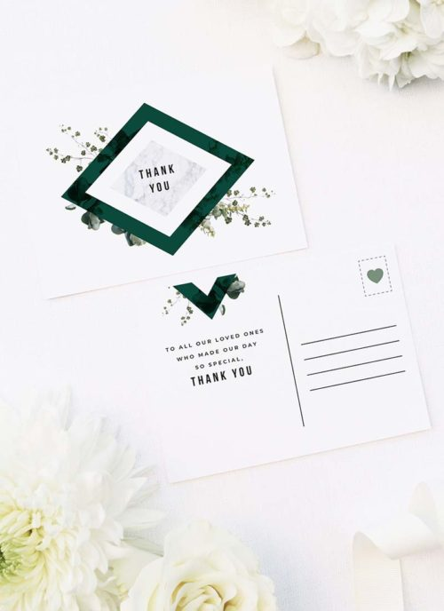 Deep Forest Green Botanical Clover Wedding Thank You Postcards Deep Forest Green Botanical Clover Wedding Invitations