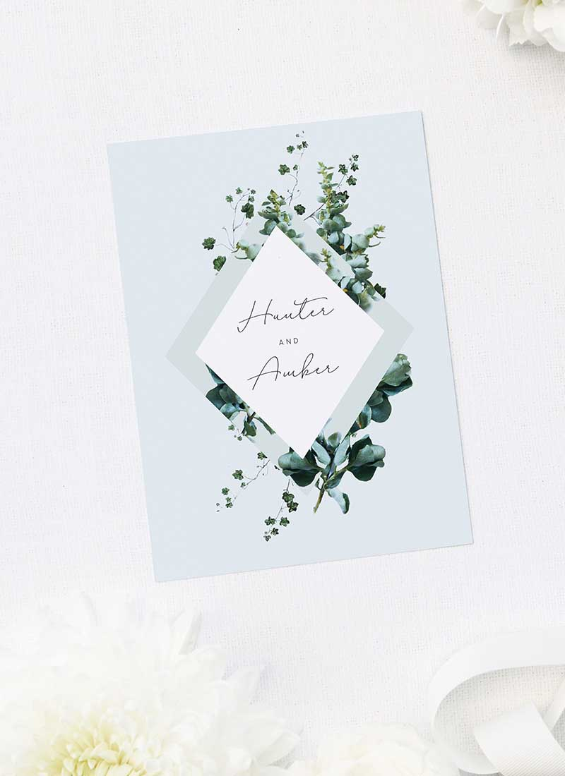 Romantic Cursive Script Botanical Greenery Wedding Invitations