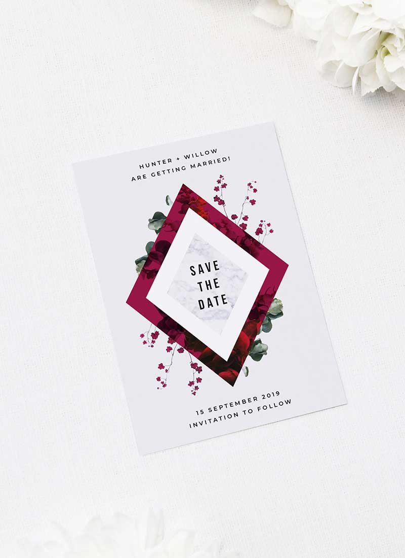 Burgundy Crimson Botanical Greenery Save the Dates Burgundy Crimson Botanical Greenery Wedding Invitations