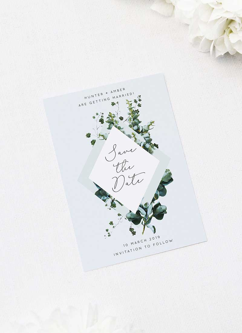 Romantic Blue Script Botanical Greenery Save the Dates Romantic Cursive Script Botanical Greenery Wedding Invitations