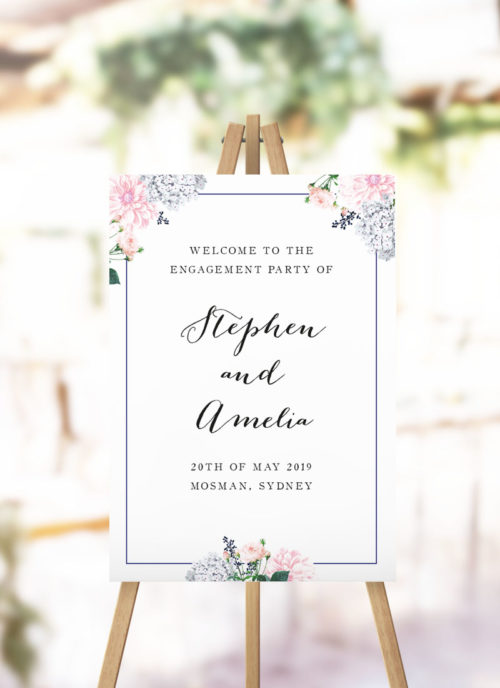 Elegant Pastel Pink Floral Engagement Party Welcome Sign