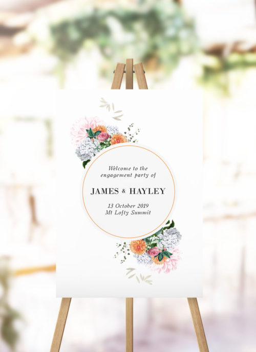 Pink Orange Floral Engagement Party Welcome Sign