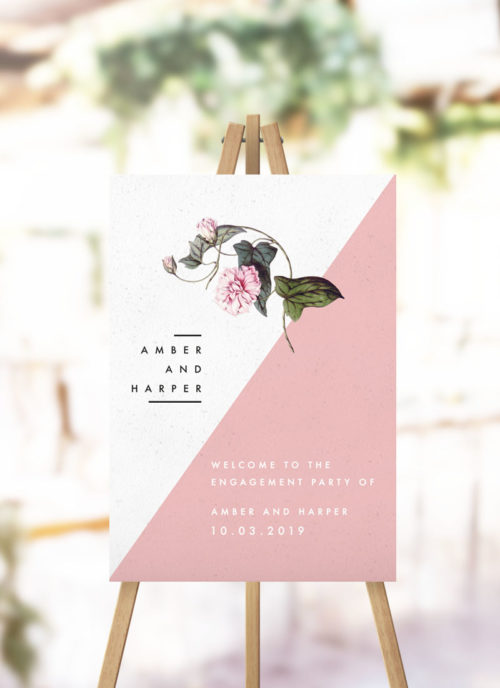 Contemporary Blush Pink Botanical Engagement Welcome Sign