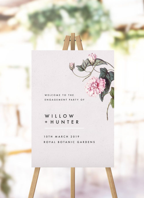 Modern Pink Grey Floral Engagement Welcome Sign