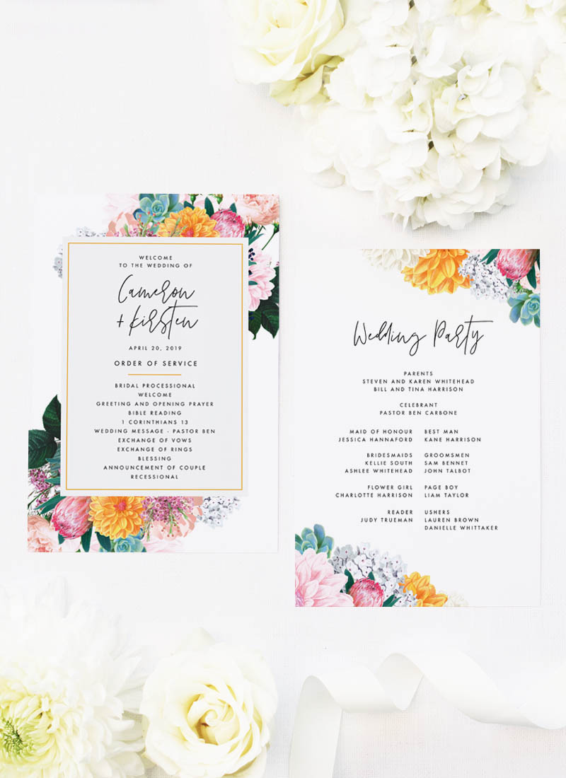 Boho Native Floral Succulent Botanical Bohemian Wedding Ceremony Programs