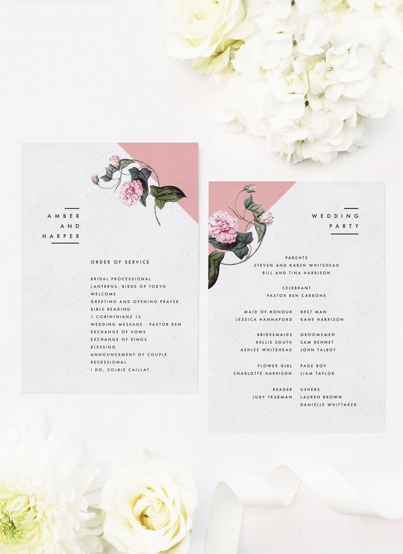 Contemporary Blush Pink Botanical Wedding Ceremony Programs