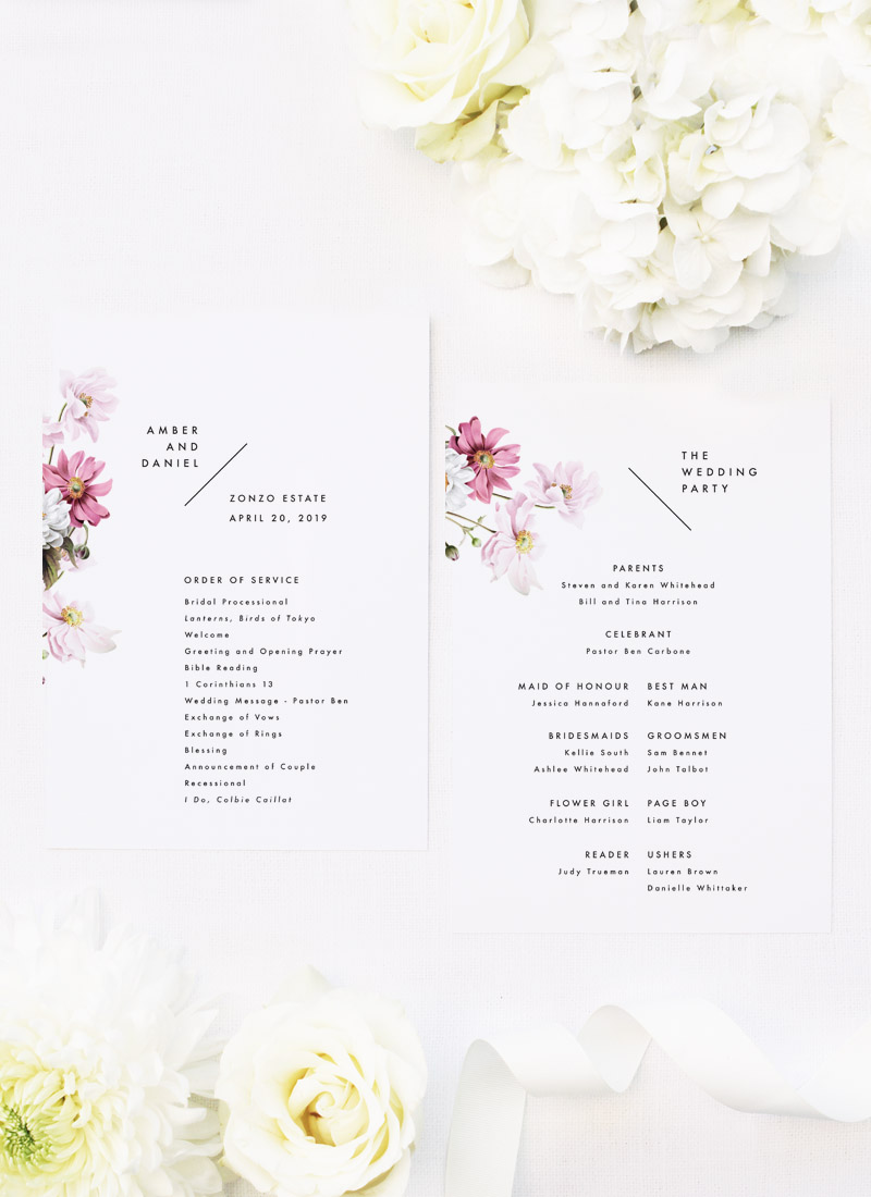 White Pink Daisies Wedding Ceremony Programs