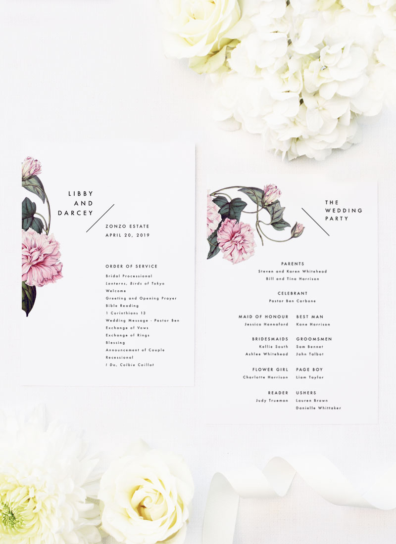 Lush Flower Botanical Vine Wedding Ceremony Programs