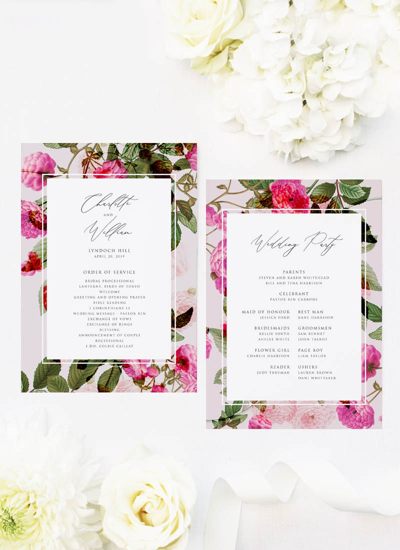 Pink Green Modern Botanical Wedding Ceremony Programs