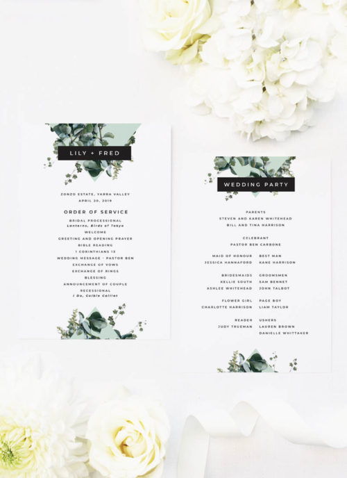 Natural Chic Green Modern Botanical Wedding Ceremony Programs