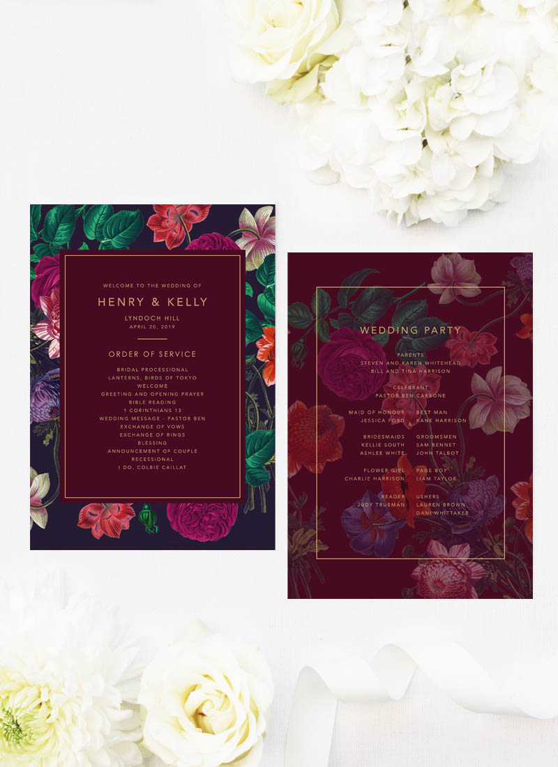 Marsala Love Floral Burgundy Wedding Ceremony Programs