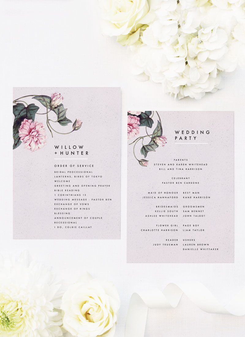 Modern Pink Grey Floral Wedding Ceremony Programs
