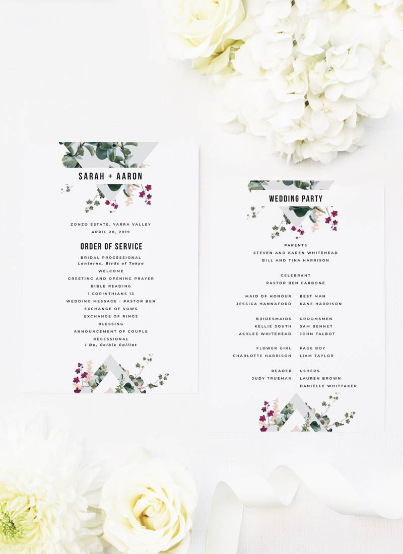Blush Burgundy Botanical Greenery Wedding Ceremony Programs