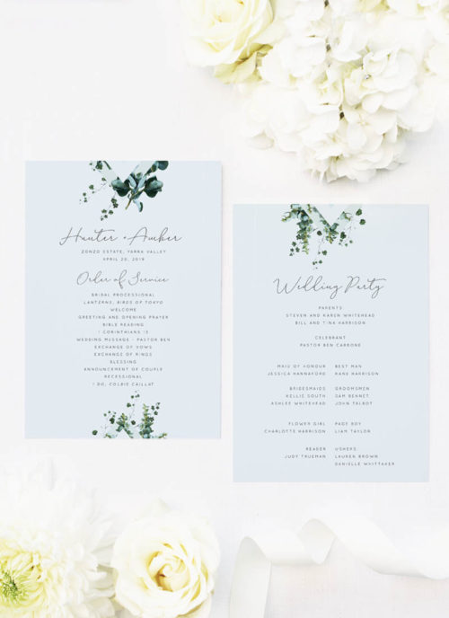 Romantic Cursive Script Botanical Greenery Wedding Ceremony Programs