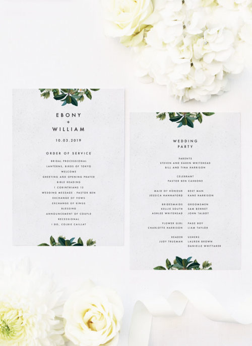 Modern Botanical Leaf Wedding Ceremony Programs