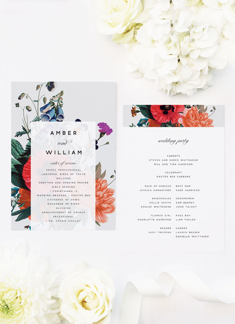 Stunning Floral Bouquet Wedding Ceremony Programs elegant flowers florals red orange grey