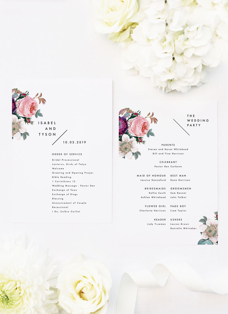 Modern Minimal Floral Rose Wedding Ceremony Programs