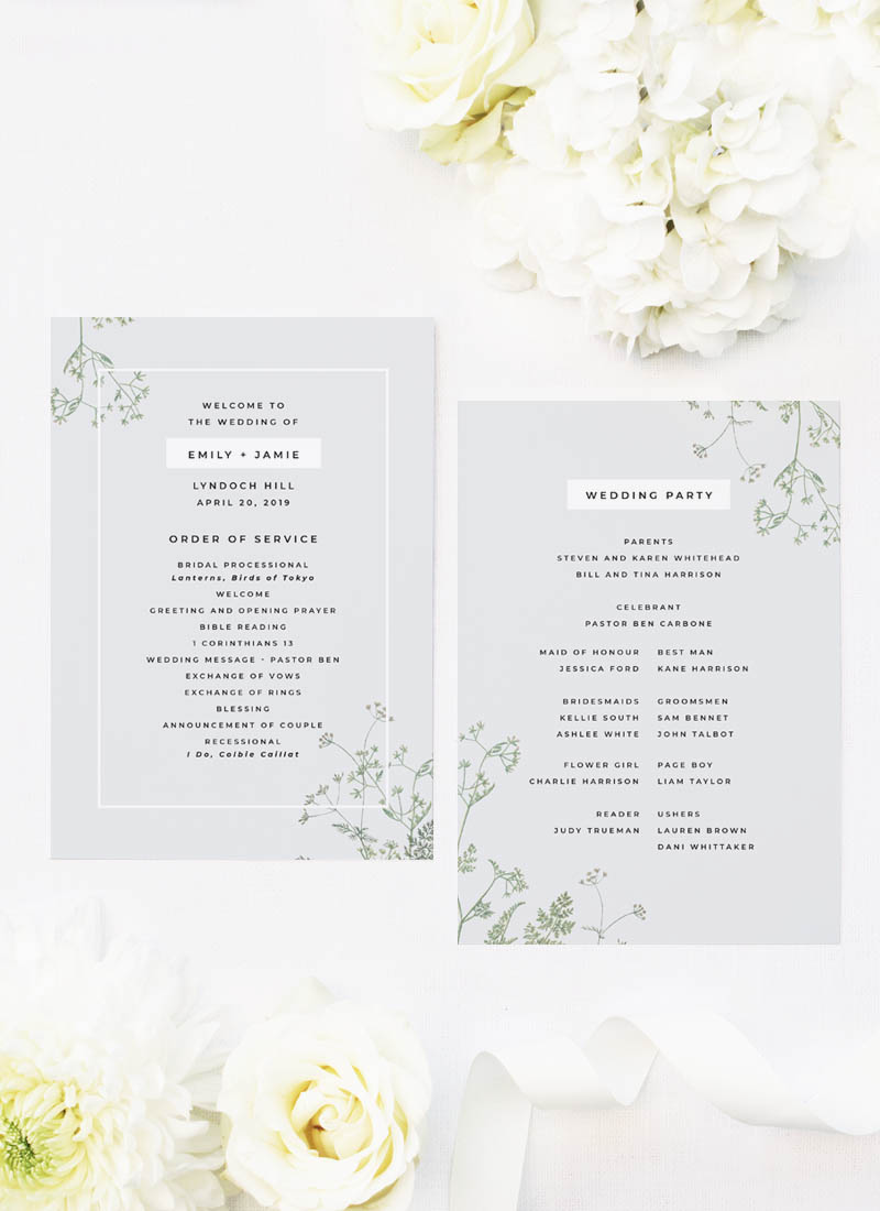 Pale Grey Modern Botanical Wedding Ceremony Programs
