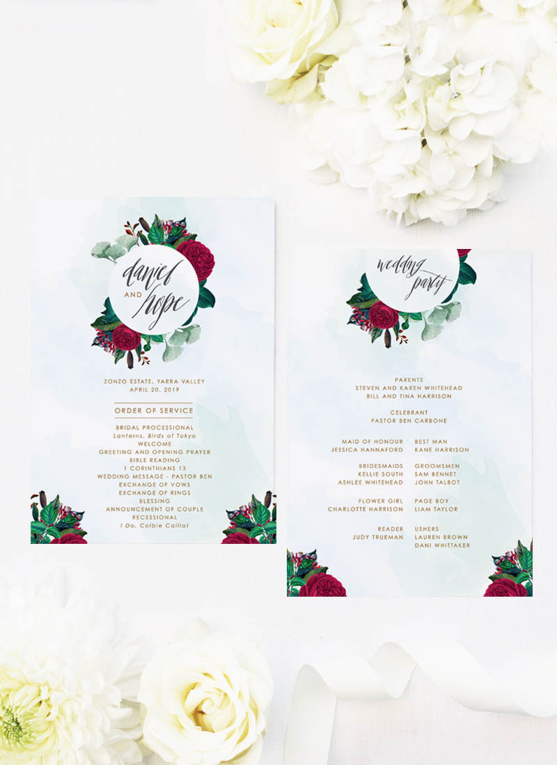 Ruby Red Rose Burgundy Floral Wedding Ceremony Programs