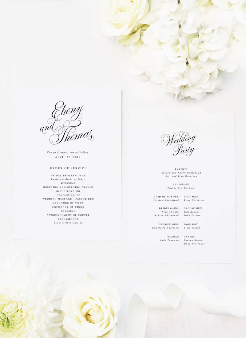 Elegant Vintage Calligraphy Script Wedding Ceremony Programs