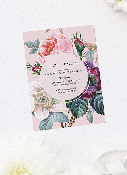 Elegant Pink Rose Floral Bouquet Engagement Invitations
