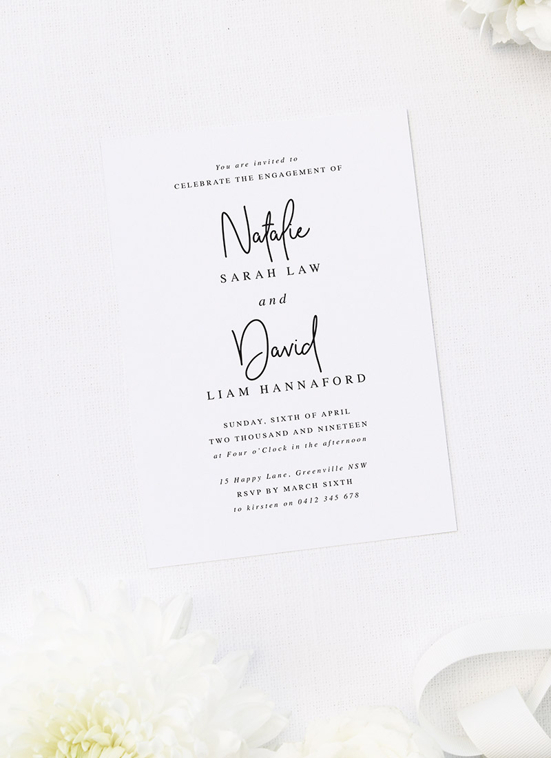 Simple Modern Classic Hand Script Engagement Invitations