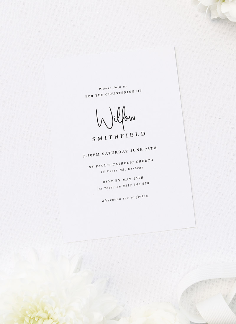 Modern Font Typography Christening Invitations