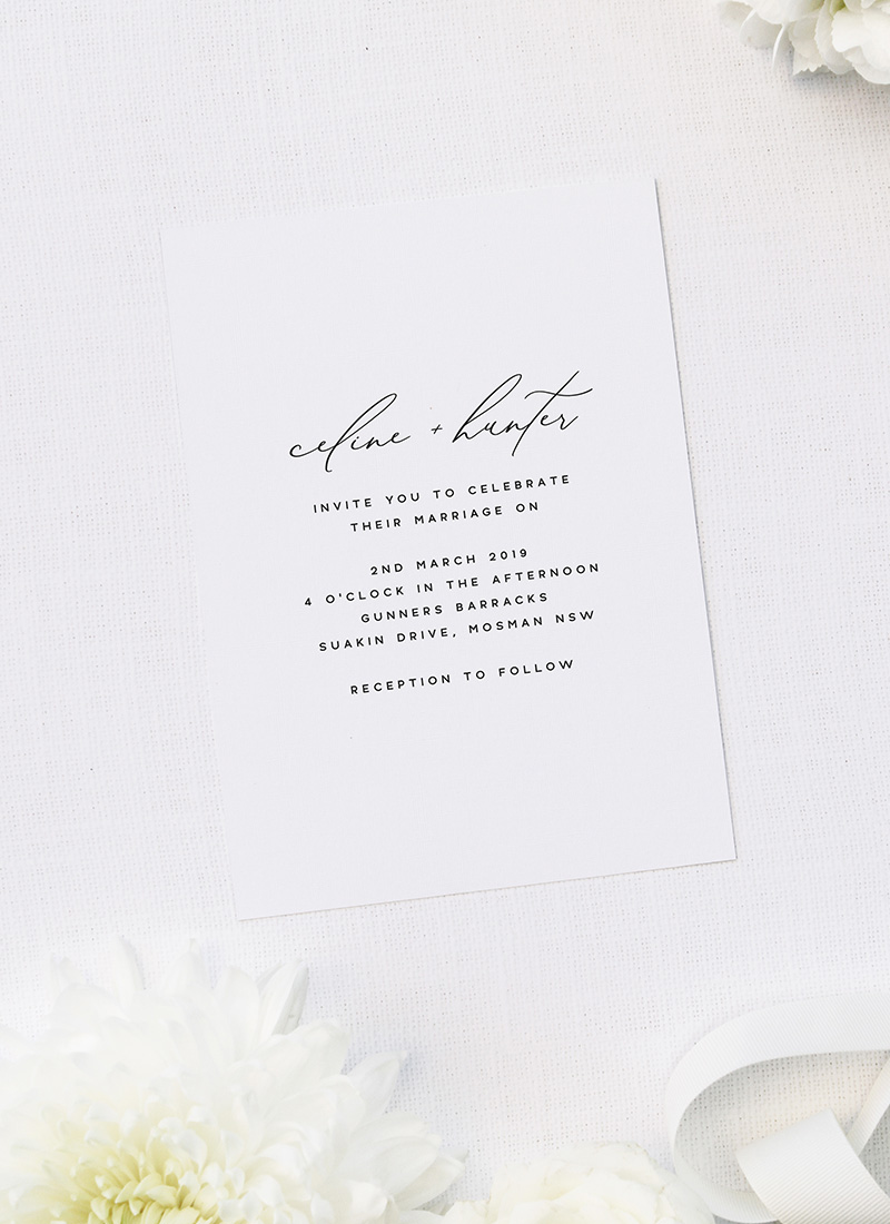 Modern Minimal Calligraphy Wedding Invitations